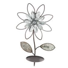 galvanized metal flower wall sconce