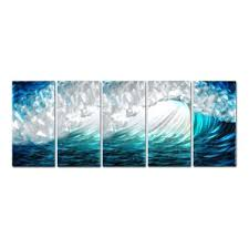 teal and green wall art waves modern painting wave seascape print wall art home decoration 5