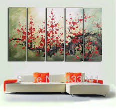 hand painted modern oversized red flower canvas wall art large abstract painting 5 pcs home decoration on oversized canvas wall art sets with hand painted modern oversized red flower canvas wall art large