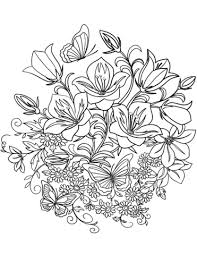 erfly and flowers coloring page