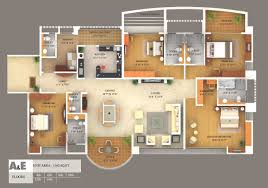 interior house plan. 3d Colored Floor Plan Architecture Simple Home Interior House I