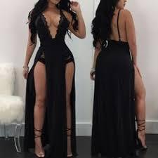 Shop See Through <b>Side Split Backless</b> Maxi Romper Dress right ...