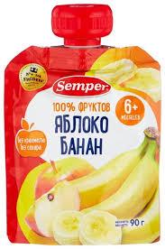 <b>Пюре Semper яблоко</b> и банан (с 6 месяцев) 90 г, 1 шт — купить по ...