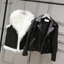 2019 ftlzz new pu leather jackets women white faux fur vest black faux leather streetwear short coat winter female snow outerwear from balsamor