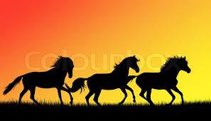 three running horses silhouette. In Three Running Horses Silhouette