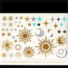 479 2015 Nová Zlatá A Stříbrná Metalíza Dočasné Tetování Nálepka Sexy Body Art Měsíc Slunce Hvězda Falešný Tetování