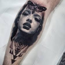 Portrait Of A Girl Deaths Head Hawkmoth Best Tattoo Design Ideas