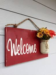 Small Picture nice Rustic Outdoor Welcome Sign in Red Wood Signs Front Door