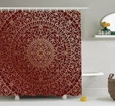 maroon shower curtain antique arabic artwork oriental mandala inspired round ornament moroccan ethnic decor set 84