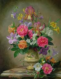 still life painting peonies and irises in a ceramic vase by albert williams