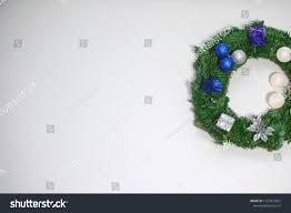 Wreath With Blue Lights White Christmas Background Decorative Wreath Dark Stock