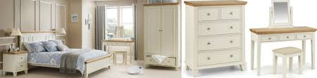 Charming Portland Stone White Bedroom Furniture With Contrasting Oak Tops