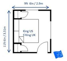 The Minimum Bedroom Size For A King Bed (super King UK) Is 9ft 6in X 11ft  6in (2.9 X 3.51m).
