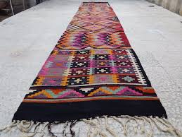 kilim runner rugs 14 vintage extra long pink orange colored turkish hallway kilim