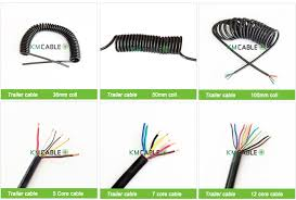 7 way 12v plastic plug coiled cable assemblies black color trailer cable are our hot type usually stock in our warehouse we can produce other colored trailer cable as customer s requirement