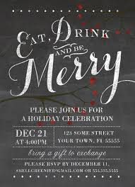 christmas invitation template  winter chalkboard holiday party  chalkboard holiday party invitation eat drink and be merry blackboard and berries invite template