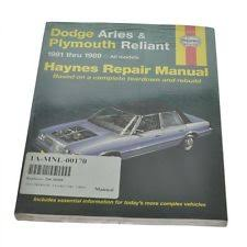 dodge aries other parts haynes repair manual for 81 89 plymouth reliant dodge aries