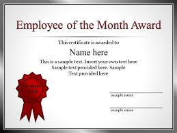 Free Employee Of The Month Certificate Template Custom 48 Employee Recognition Template Powerpointpptx PowerPoint PPT