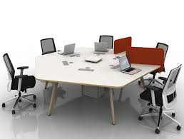 arthur 6 person hexagonal desking system with chairs and wooden legs