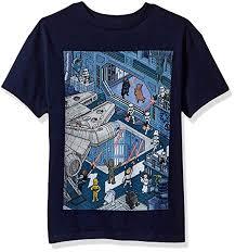 Star Wars Boys Big Cartoon Hangar Battle Scene Graphic Tee