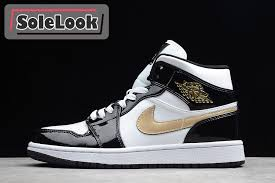 2019 air jordan 1 mid se black white gold patent leather