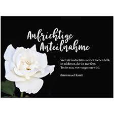 4 X Beileidskarte Mit Umschlagmotiv Aufrichtige Anteilnahme Weiße Rosebeerdigung Trauer Sterbefall Todanteilnahmebeileid