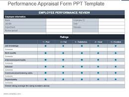 Performance Appraisal Form Ppt Template Powerpoint