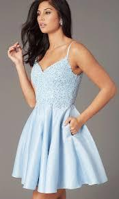 Light Blue Semi Dress Embroidered Bodice Short Satin Homecoming Dress