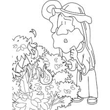 Small Picture Moses and the Burning Bush Coloring Page