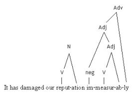 patterns of lexical changethe inverted tree diagram shows that reputation  noun  is derived from repute  verb     ation  the word immeasurably  adverb  is derived from immeasurable