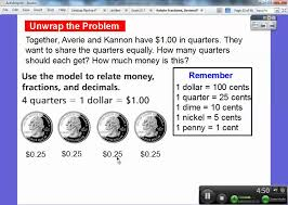 fractions in decimal form relate fractions decimals and money lesson 9 4 youtube