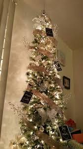 Skinny Christmas Tree, Burlap Ribbon, White & Silver Ornaments, Printed  Greeting Cards,