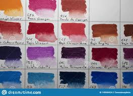Watercolor Palette Chart Watercolor Color Chart Stock Photo Image Of Color