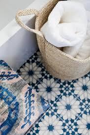 Blue Mosaic Tiled Floor Transitional Bathroom