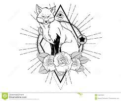 эскиз татуировки головы лисы с эскизом татуировки роз винтажным нео