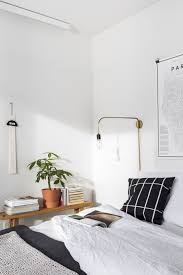 Simple White Bedroom Home Interior Design Modern Light Fixture Coming Out From Wall