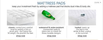 mattress ad. mattress pads. keep your investment fresh by adding a pad that blocks dust mites ad
