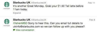 how starbucks uses facebook twitter and google  a decent proportion of the tweets are responses to customer service queries but it appears that social is a low priority for the brand
