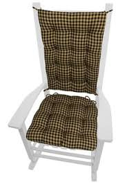 checkers black and tan farmhouse style rocking chair cushions made in the usa by barnett home dining