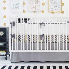 image of chevron grey crib skirt
