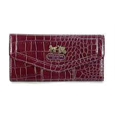 Coach Madison In Embossed Large Dark Red Wallet EDR
