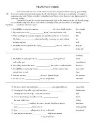 best transition words worksheet ideas transition words worksheet lesson planet
