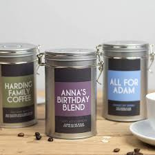 coffee gift tin with personalised message
