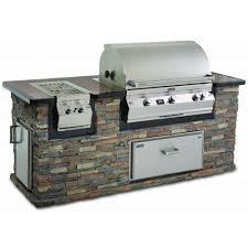 fire magic aurora a790i propane gas bbq grill in stack stone grill island with cocoa granite countertop bbq guys
