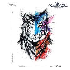 Details About Tiger Temporary Tattoo Water Colour Splash Ink Spray Waterproof Mens Womens
