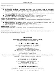 Resume Sample Law Enforcement Professional Certifications And Training ...