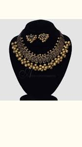 black and gold terracotta necklace set 6952