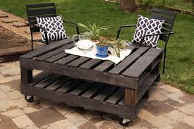 unique pallet furniture. furnituressmall patio with creative dark pallet wood table on wheels feat black chairs 18 unique furniture