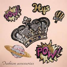 <b>Crown POW Hugs Sequins</b> Patches Cap Shoe Iron On Embroidered ...