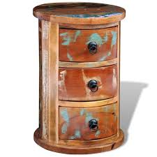 reclaimed solid wood round cabinet with 3 drawers vintage rustic antique